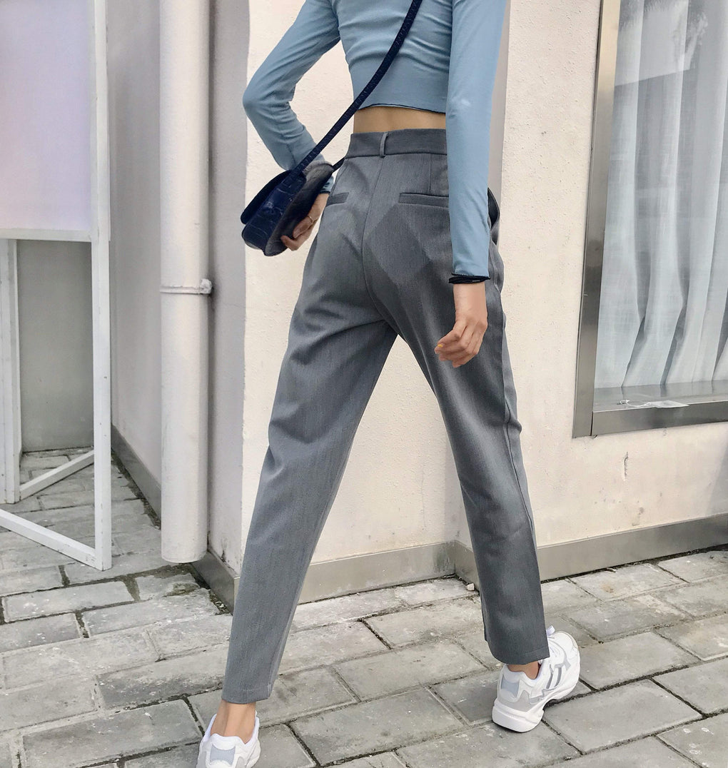 itGirl Shop ELEGANT CASUAL GRAY HIGH WAIST STRAIGHT SUIT PANTS
