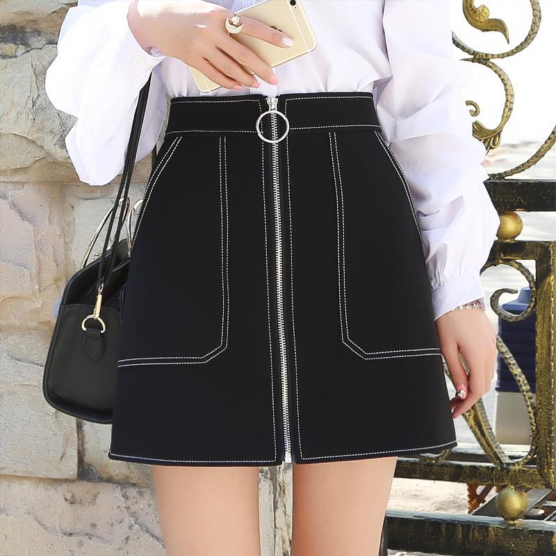 itGirl Shop ELEGANT SEW DETAILS FRONT ZIPPER THREE COLOURS SKIRT