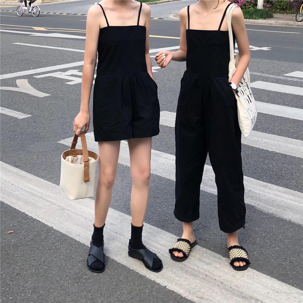 itGirl Shop ELEGANT THIN STRAPS BLACK BLUE YELLOW ROMPER OVERALLS