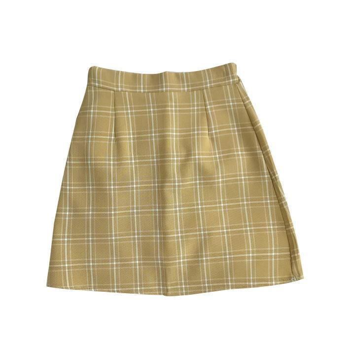 itGirl Shop ELEGANT VINTAGE PLAID PENCIL PASTEL COLOUR SKIRT