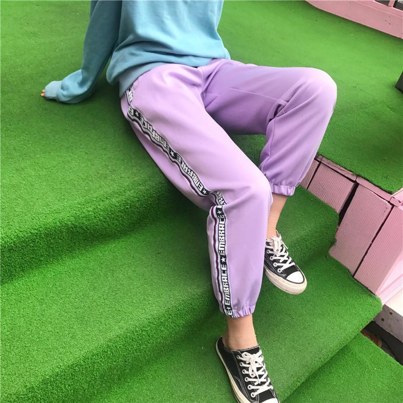 itGirl Shop EMBRACE SIDE LINE LETTERS LAVANDER PURPLE BLACK UNISEX OVERSIZED SPORT PANTS