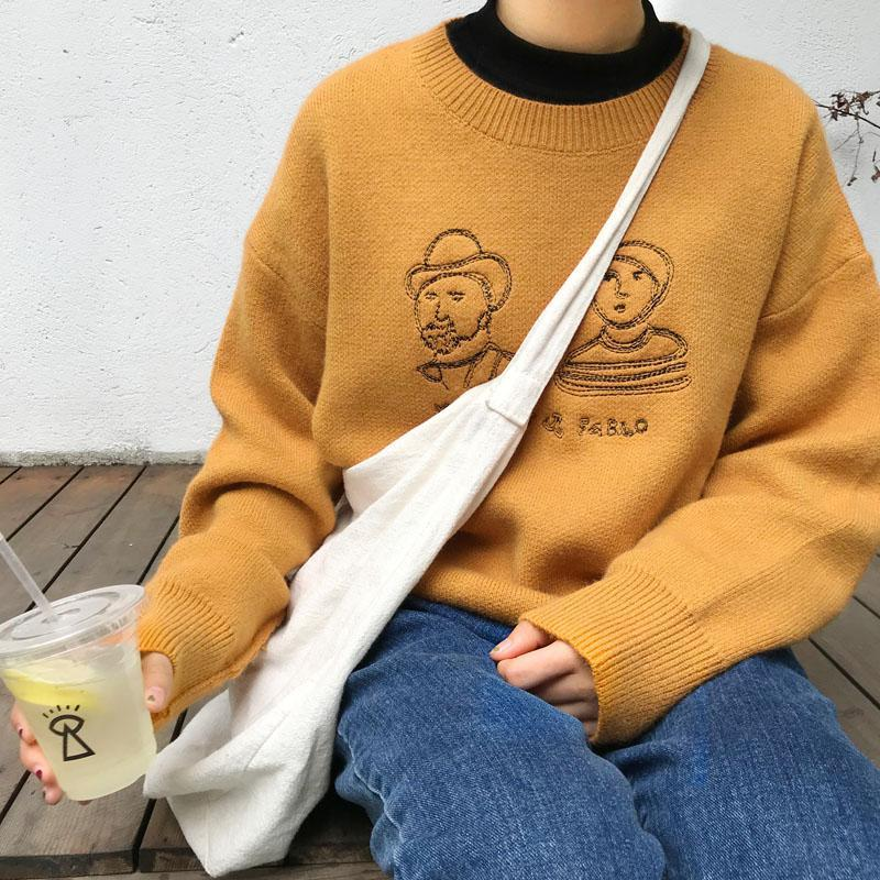 itGirl Shop EMBROIDERY YELLOW GREEN BLACK O-NECK KNITTED SWEATER