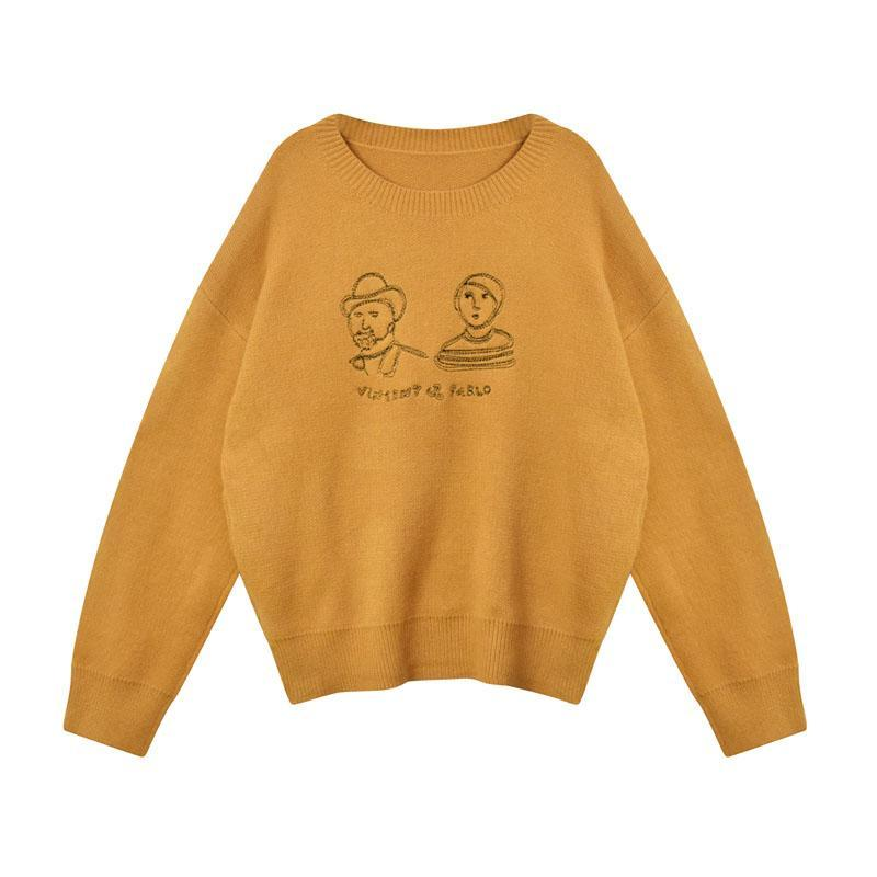 EMBROIDERY YELLOW GREEN BLACK O-NECK KNITTED SWEATER
