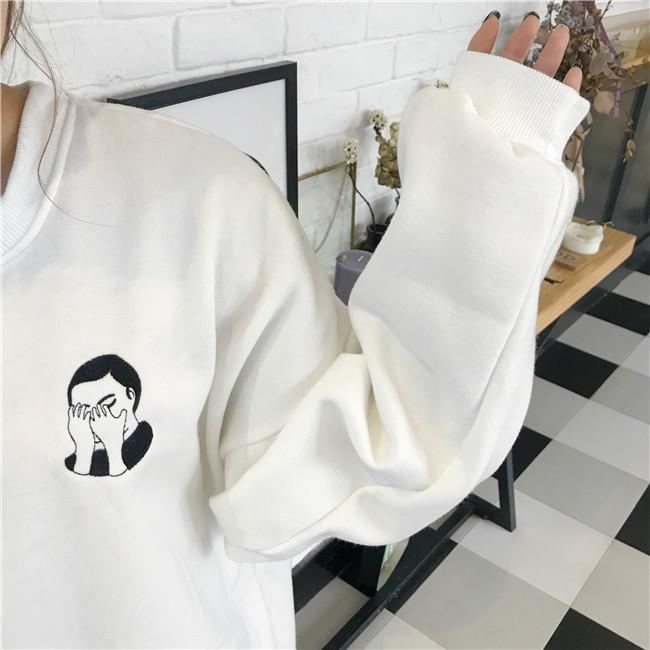 itGirl Shop FACEPALM ASIAN EMBROIDERY PATCH BLACK WHITE FLEECE LONG SLEEVE SWEATSHIRT