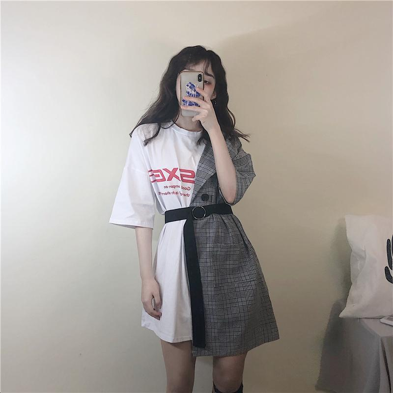 itGirl Shop OVERSIZED EGIRL HALF SEWED T-SHIRT WITH JACKET SIDE