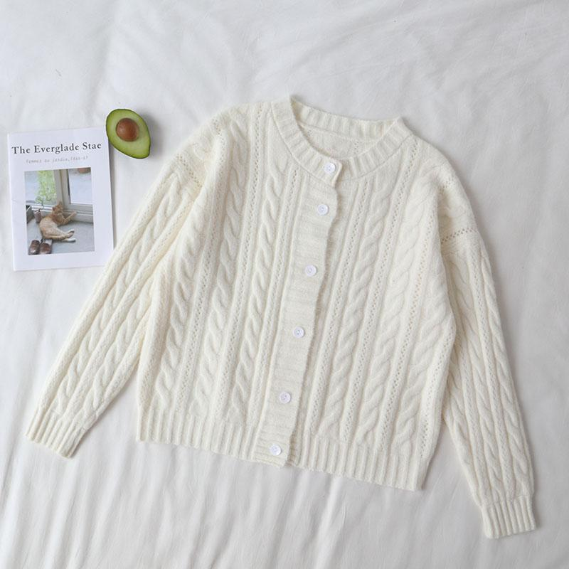 itGirl Shop FALL COLORS AESTHETIC RETRO KNIT BRAIDS CARDIGAN SWEATER
