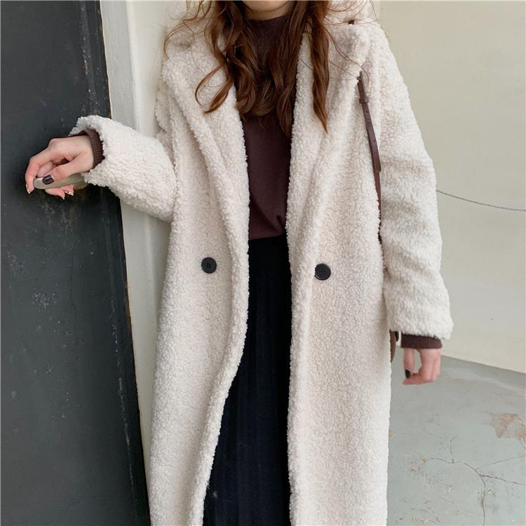 itGirl Shop FAUX CURLY FUR PURPLE WHITE BEIGE LONG COAT