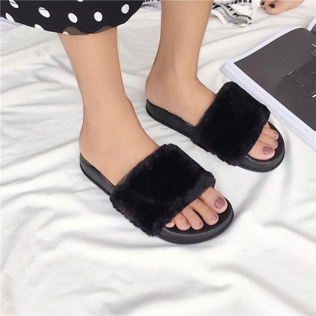 itGirl Shop FAUX FLUFFY FUR RUBBER PINK GRAY BLACK FLAT OPEN SANDALS