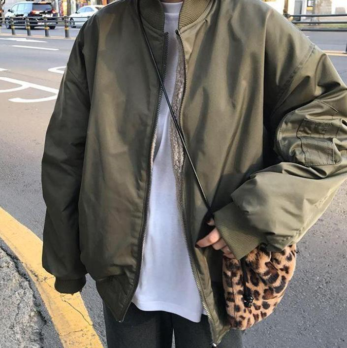 itGirl Shop FAUX FUR DOUBLE SIDED HOODED OVERSIZED BOMBER JACKET