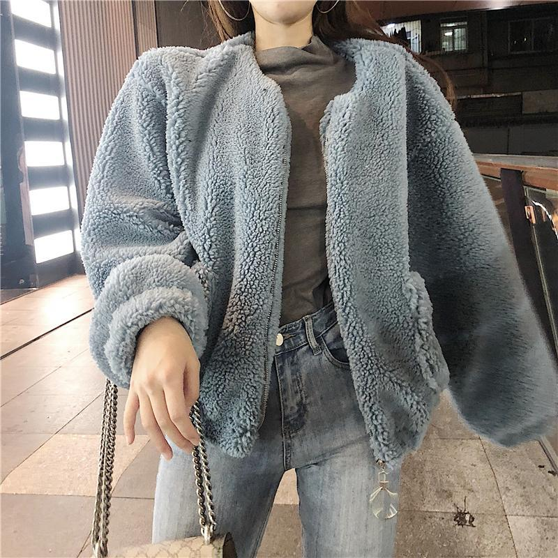 itGirl Shop FAUX FUR LOOSE WARM CURLY PLUSH OUTWEAR JACKET