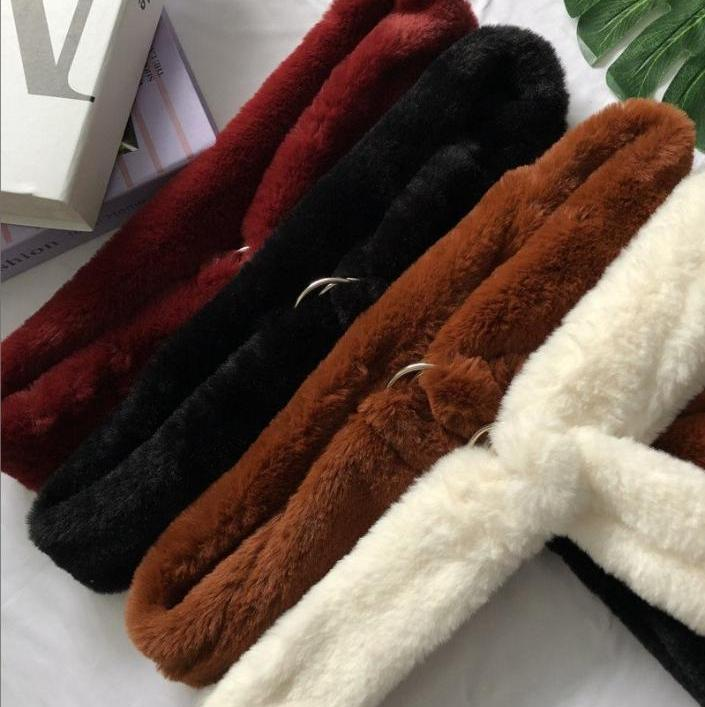 itGirl Shop FAUX LAMB FUR LEOPARD LONG BELT