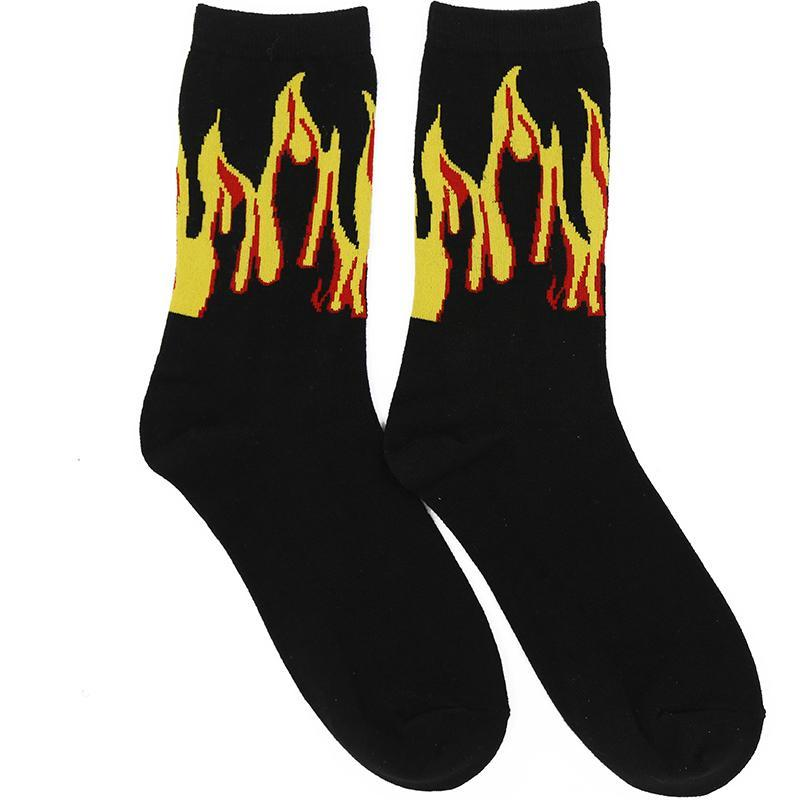 itGirl Shop FIRE FLAME ANKLE LONG BLACK COTTON SOCKS
