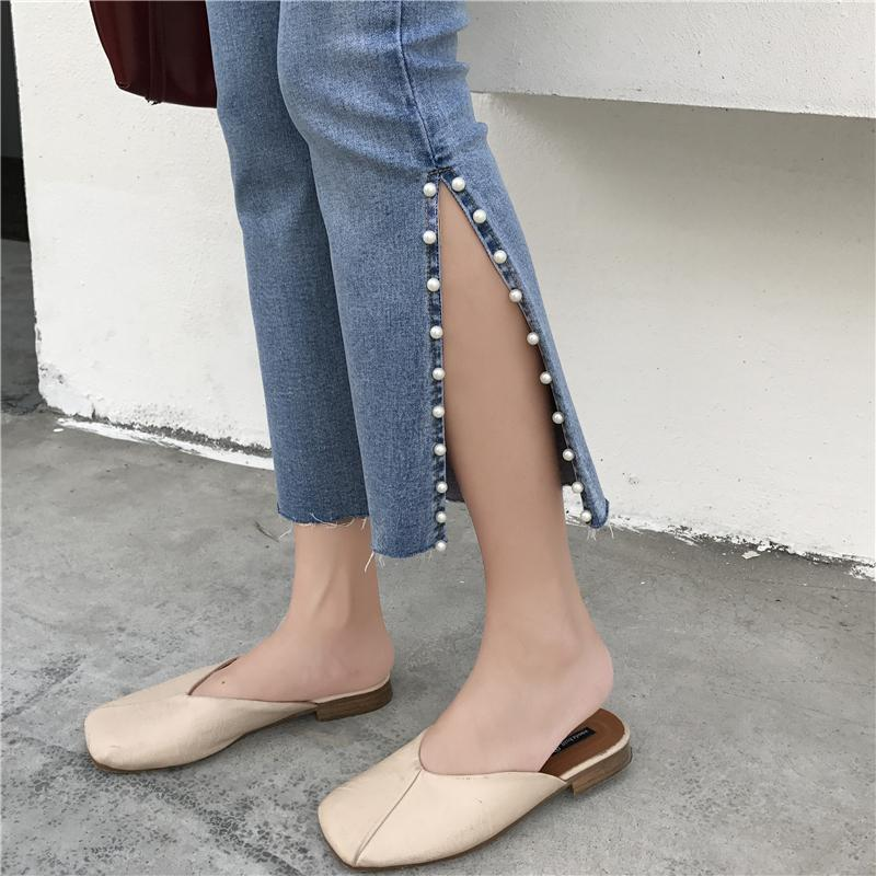 itGirl Shop FLARED ABOVE ANKLE CUT PEARL BEANS SEWED BLUE JEANS