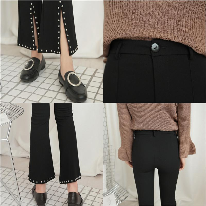 itGirl Shop FLARED BLACK METALLIC STUDS HOLES ANKLE PANTS Aesthetic Apparel, Tumblr Clothes, Soft Grunge, Pastel goth, Harajuku fashion. Korean and Japan Style looks