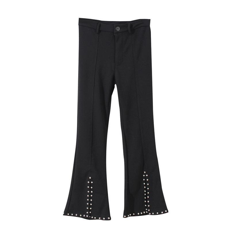 itGirl Shop FLARED BLACK METALLIC STUDS HOLES ANKLE PANTS