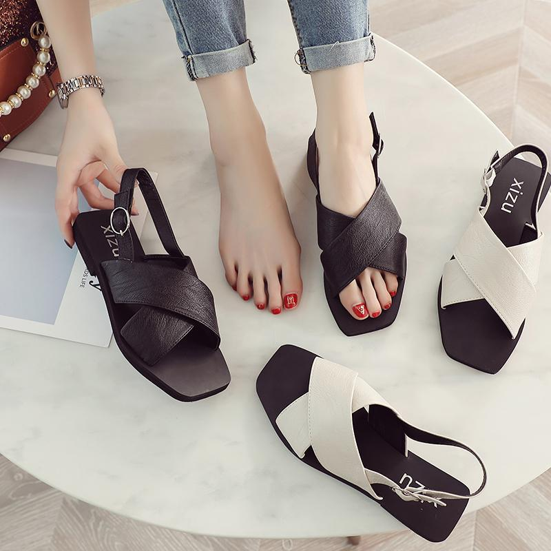 itGirl Shop FLAT HEEL BLACK SUMMER OPEN MINIMALISTIC SANDALS