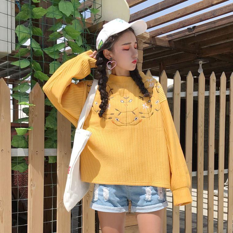 itGirl Shop FLORAL CHEST EMBROIDERY YELLOW WHITE KNIT SWEATER
