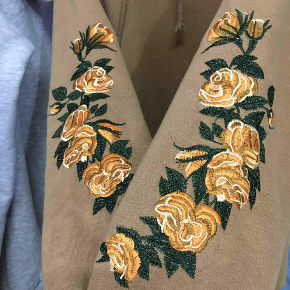 itGirl Shop FLOWERS EMBROIDERY SLEEVE KHAKI BLACK GRAY HOODIE