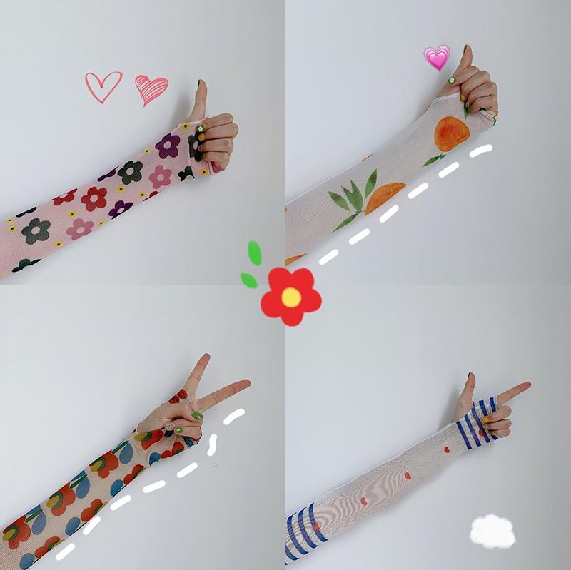 FLOWERS PRINTED TRANSPARENT GLOVES