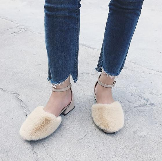 itGirl Shop FLUFFU FAUX FUR CLOSED TOE ANKLE BUCKLE FLAT SANDALS Aesthetic Apparel, Tumblr Clothes, Soft Grunge, Pastel goth, Harajuku fashion. Korean and Japan Style looks