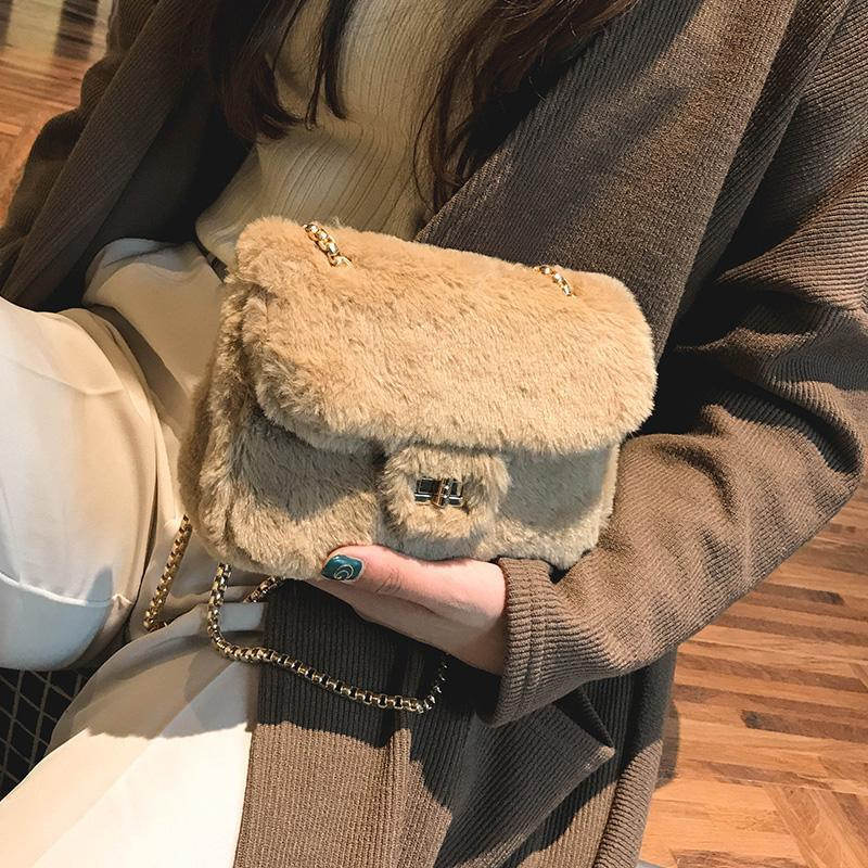 itGirl Shop FLUFFY FAUX FUR BUCKLE GOLDEN CHAIN SHOULDER ELEGANT BAG