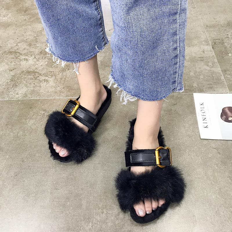 itGirl Shop FLUFFY FAUX FUR INSOLE FRONT BUCKLE OPEN TOE SANDALS
