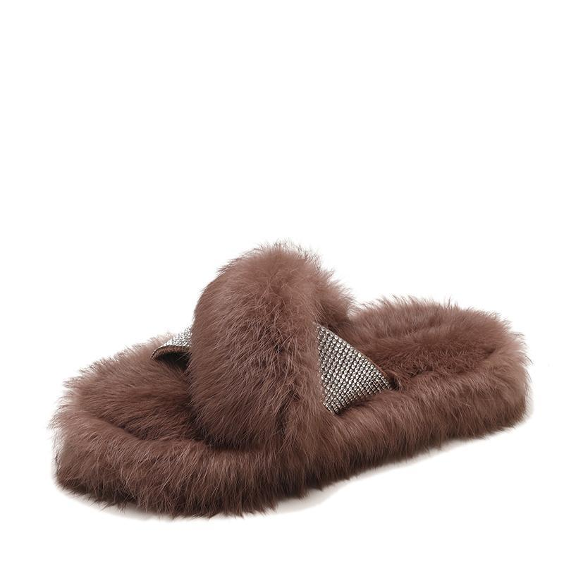 itGirl Shop FLUFFY FUR RHINESTONES CROSS SLIPPERS