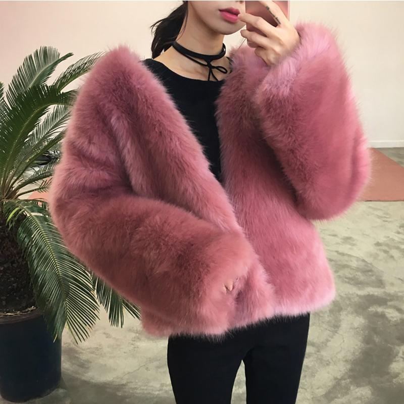 itGirl Shop FLUFFY HAIR FAUX FUR PINK OUTWEAR COAT JACKET