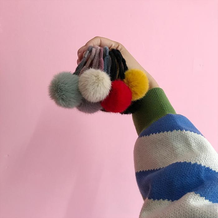 FLUFFY SOFT BALL COLORFUL RUBBER HAIR BAND
