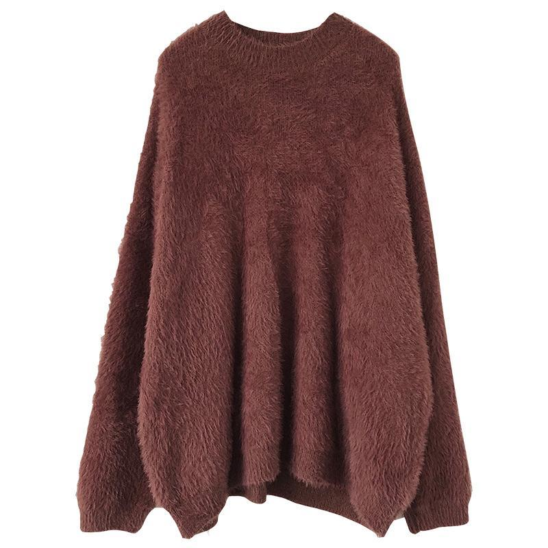 itGirl Shop FLUFFY VELVETY WARM ROUND NECK LOOSE SWEATER