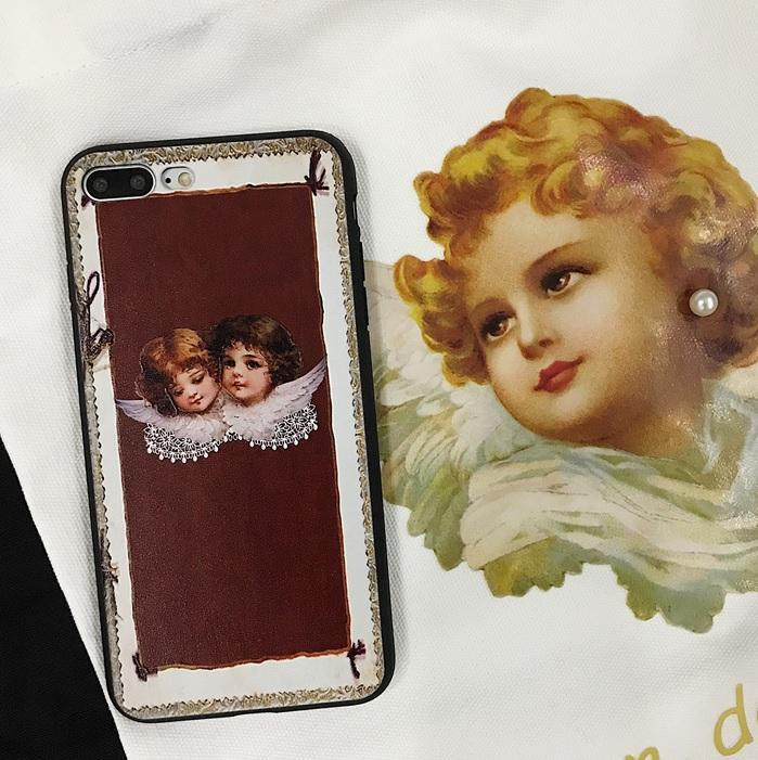 itGirl Shop FRAME BURGUNDY ANGELS LACE IPHONE COVER CASE