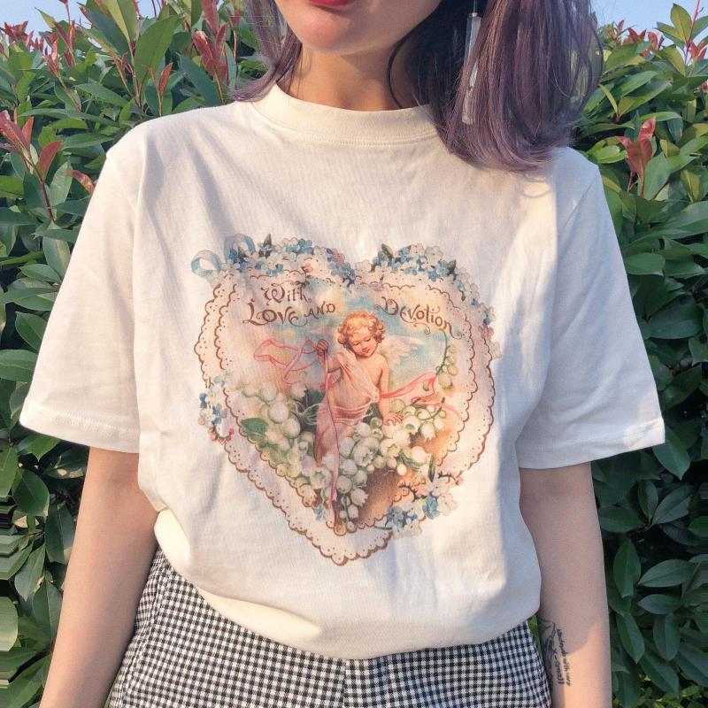 itGirl Shop FRENCH ANTIQUE ANGEL LOVE WREATH T-SHIRT