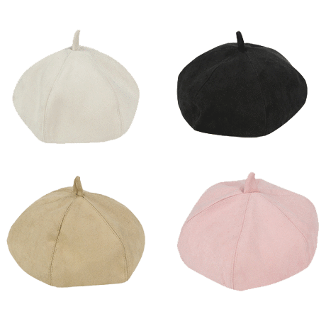 itGirl Shop FRENCH SUEDE CARAMEL COLOURS BERET HAT