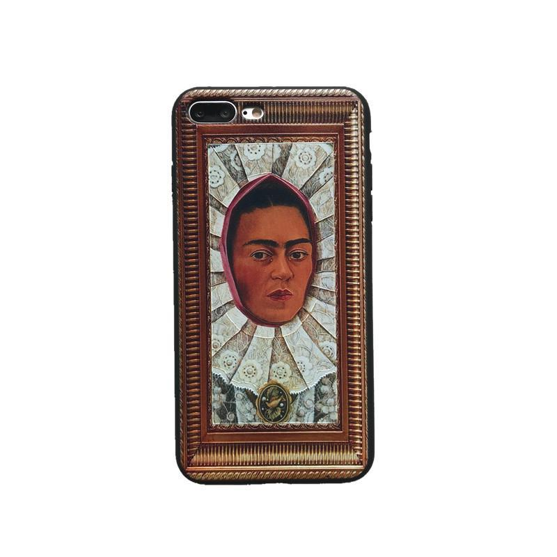 itGirl Shop FRIDA KAHLO PAINTING GOLDEN FRAME IPHONE COVER CASE