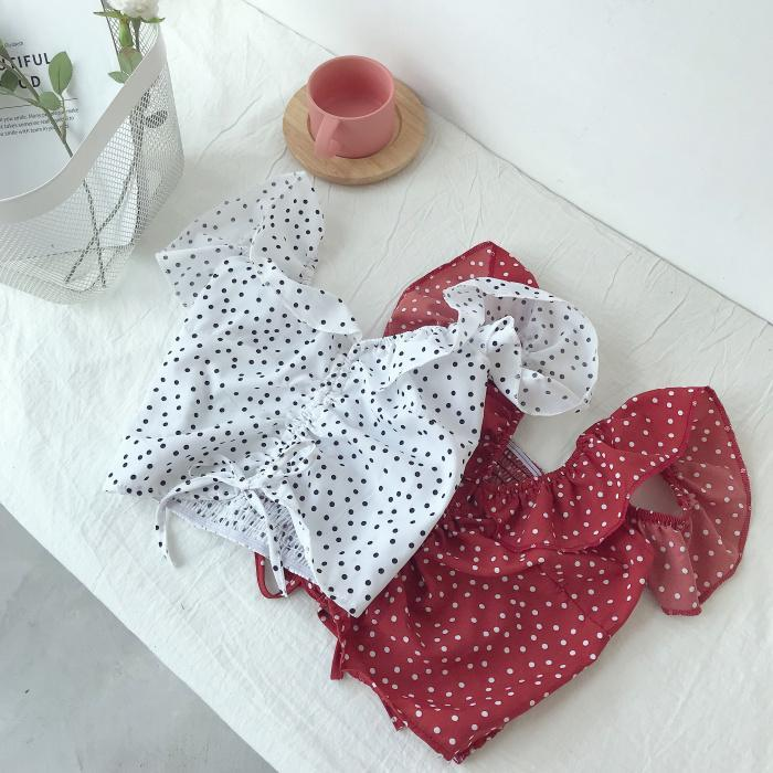 FRILLED SUMMER WHITE DOTTED TOP