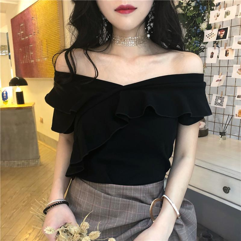 itGirl Shop FRILLED WHITE BLACK OPEN SHOULDERS SEXY SHIRT