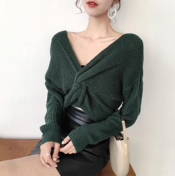 itGirl Shop FRONT BOW KNOT KNIT LONG SLEEVE SWEATER
