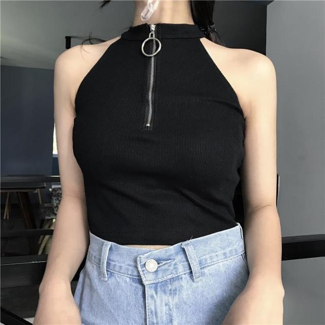 itGirl Shop FRONT ZIPPER RING BLACK SLEEVELESS CROP TOP