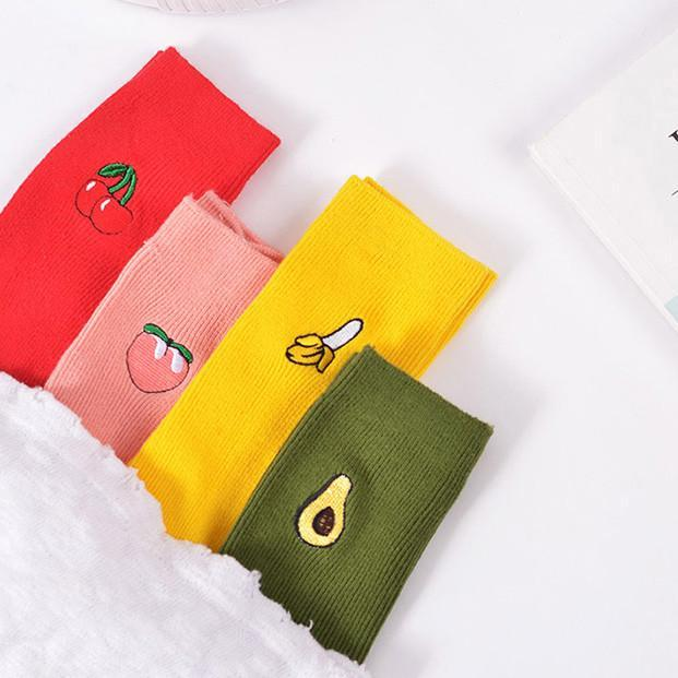 itGirl Shop FRUIT EMBROIDERIES COTTON SOCKS