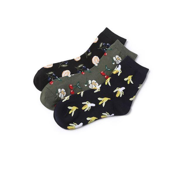 itGirl Shop FRUITS PINEAPPLE BANANA AVOCADO EMBROIDERY SOCKS