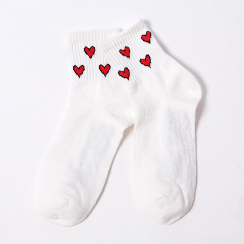 itGirl Shop FUNNY ANKLE PATTERNS HEARTS STARS WHITE SOCKS