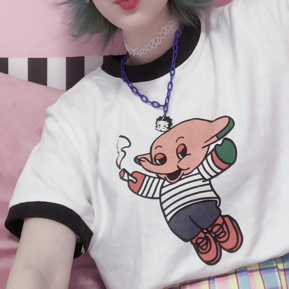 itGirl Shop FUNNY CARTOON PRINT BLACK COLOR EDGE OVERSIZED T-SHIRT