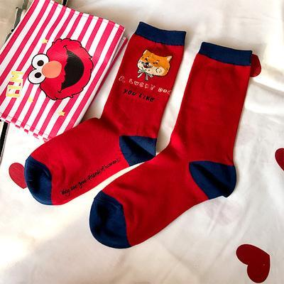 FUNNY CARTOON PRINTED COTTON LONG SOCKS