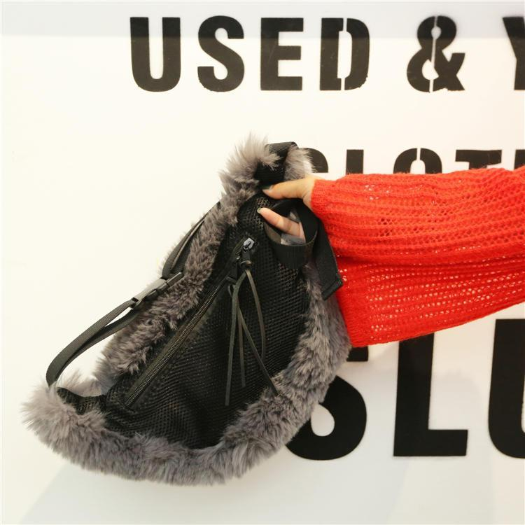 itGirl Shop FUR FLUFFY GRAY BELT STYLE SHOULDER BAG