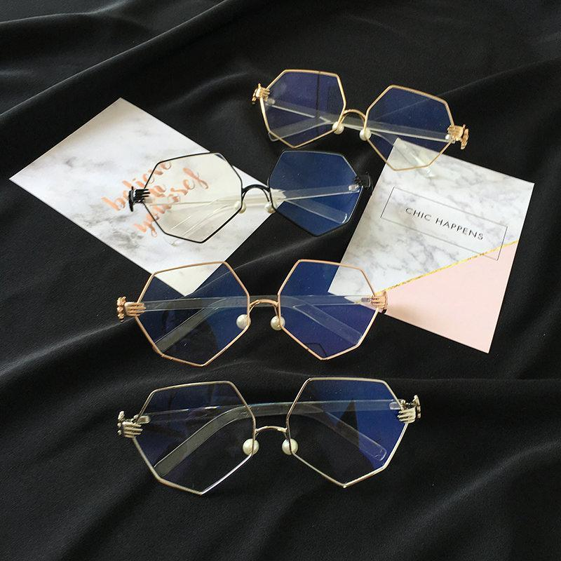 itGirl Shop GEOMETRIC METALLIC FRAME CLEAR KOREAN GLASSES