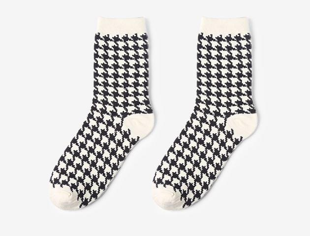 itGirl Shop GEOMETRIC PRINTING CHECKERED STRIPED SOCKS