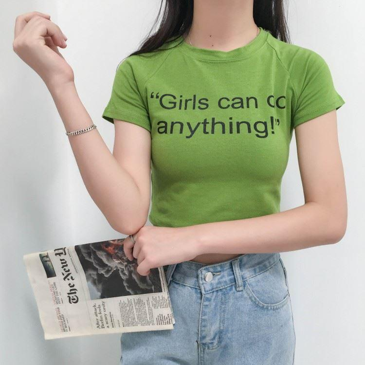itGirl Shop GIRLS CAN DO ANYTHING COTTON FEMENISTIC CROP TOP