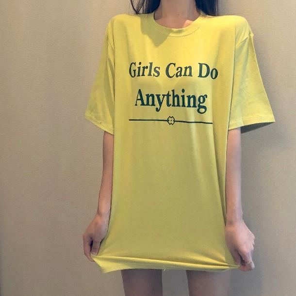 itGirl Shop GIRLS CAN DO ANYTHING OVERSIZED PASTEL COLORS T-SHIRT