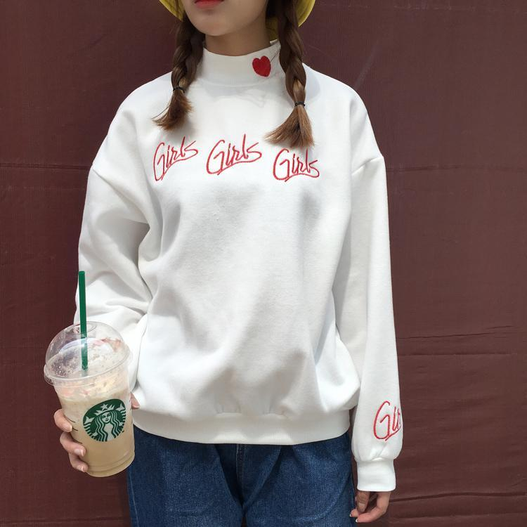 itGirl Shop GIRLS GIRLS GIRLS EMBROIDERY HEART HIGH NECK SWEATSHIRT