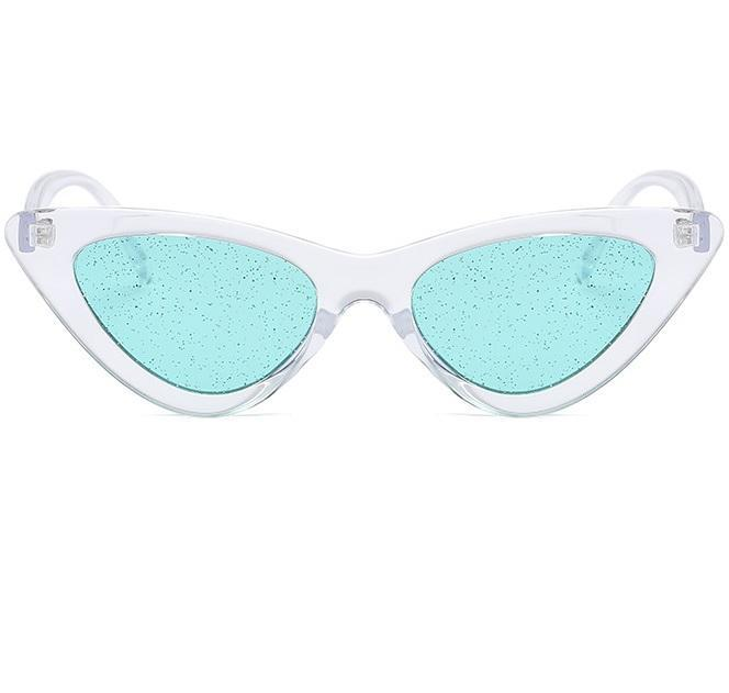 itGirl Shop GLITTER LENS TRANSPARENT SHADES SPARKLE PLASTIC CAT STYLE FRAME SUNGLASSES
